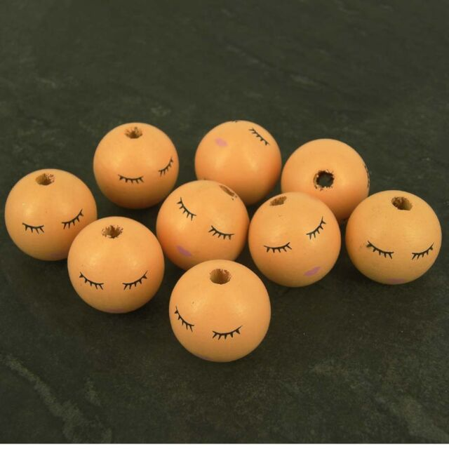 pack 10 large sleeping wooden angel doll head beads 27 mm faces