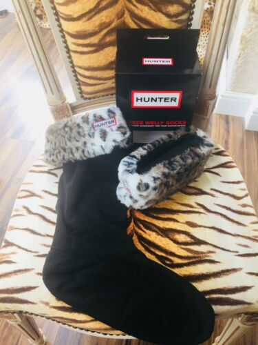 Ladies Festival Fur Wellington Boot Faux New Hunter taglia medio calzini Leopard nB4ZWWAf