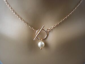 25ae60f83 Front fastening t-bar toggle necklace Pearl drop on Rose Gold plated ...