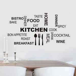 Image Is Loading Modern Kitchen Typography Art Quote Wall Sticker For  Part 47