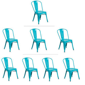 Image Is Loading Tolix Teal Metal Stacking Dining Chair Commercial Quality