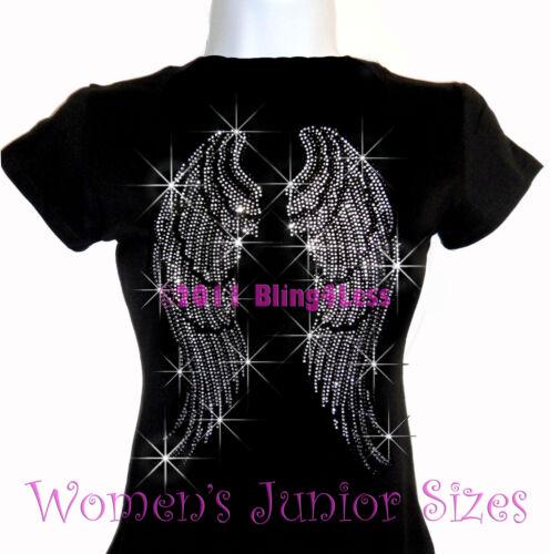 Top Bling Large Angel Wings Rhinestone Iron On Black T-Shirt Pick Size S-3XL