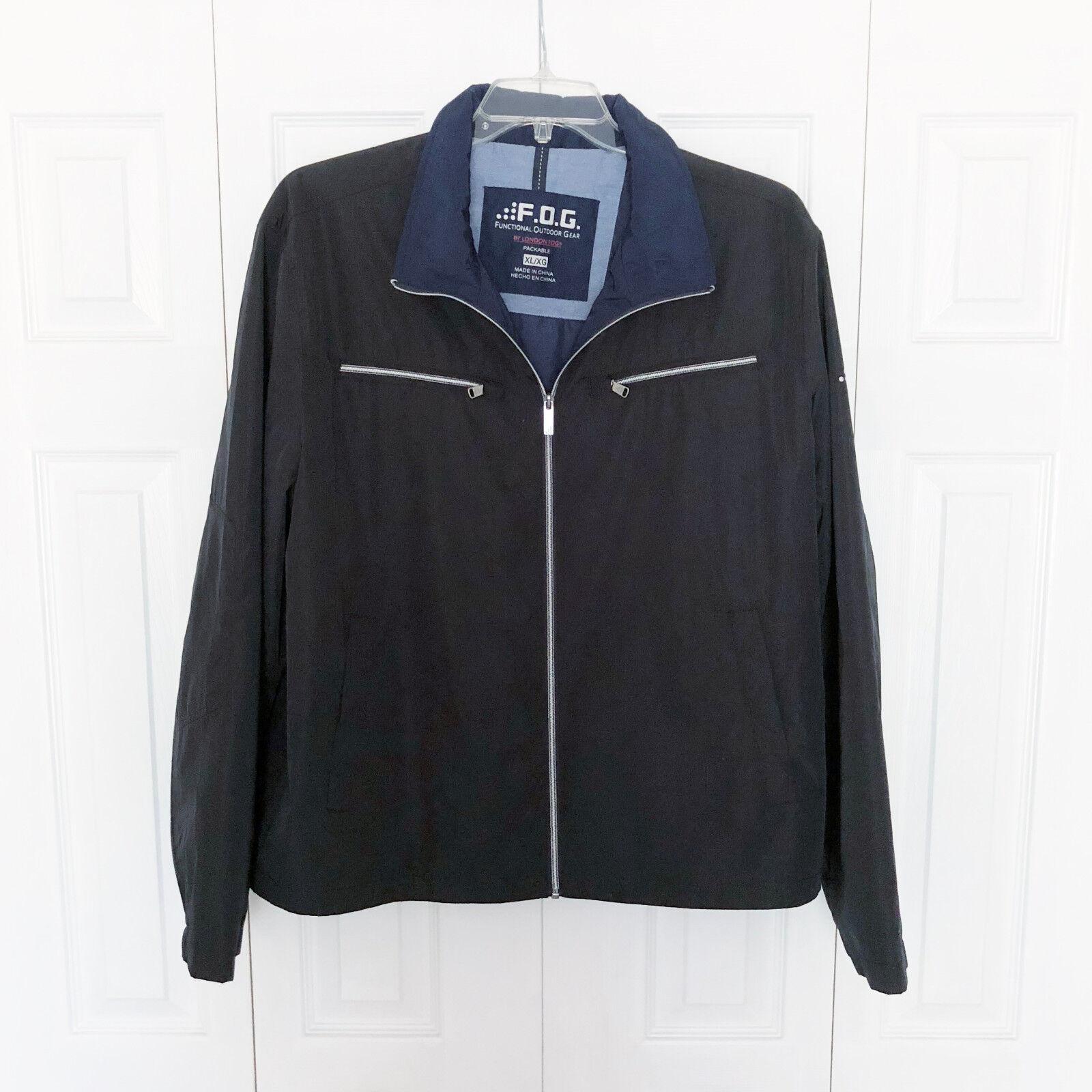 FOG a London Fog Mens XL kültéri ruházati zacskó fekete zseb elülső és zsebek EUC