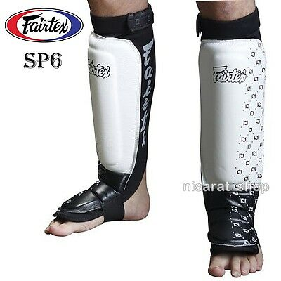 New Fairtex SP6 NEOPRENE SHIN PADS Black Slip On Shin Guards for MMA Boxing Muay