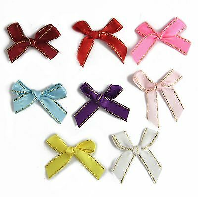 Xmas Festive Card Gold Threaded Satin Ribbon Bows Silk Premium Metallic Craft