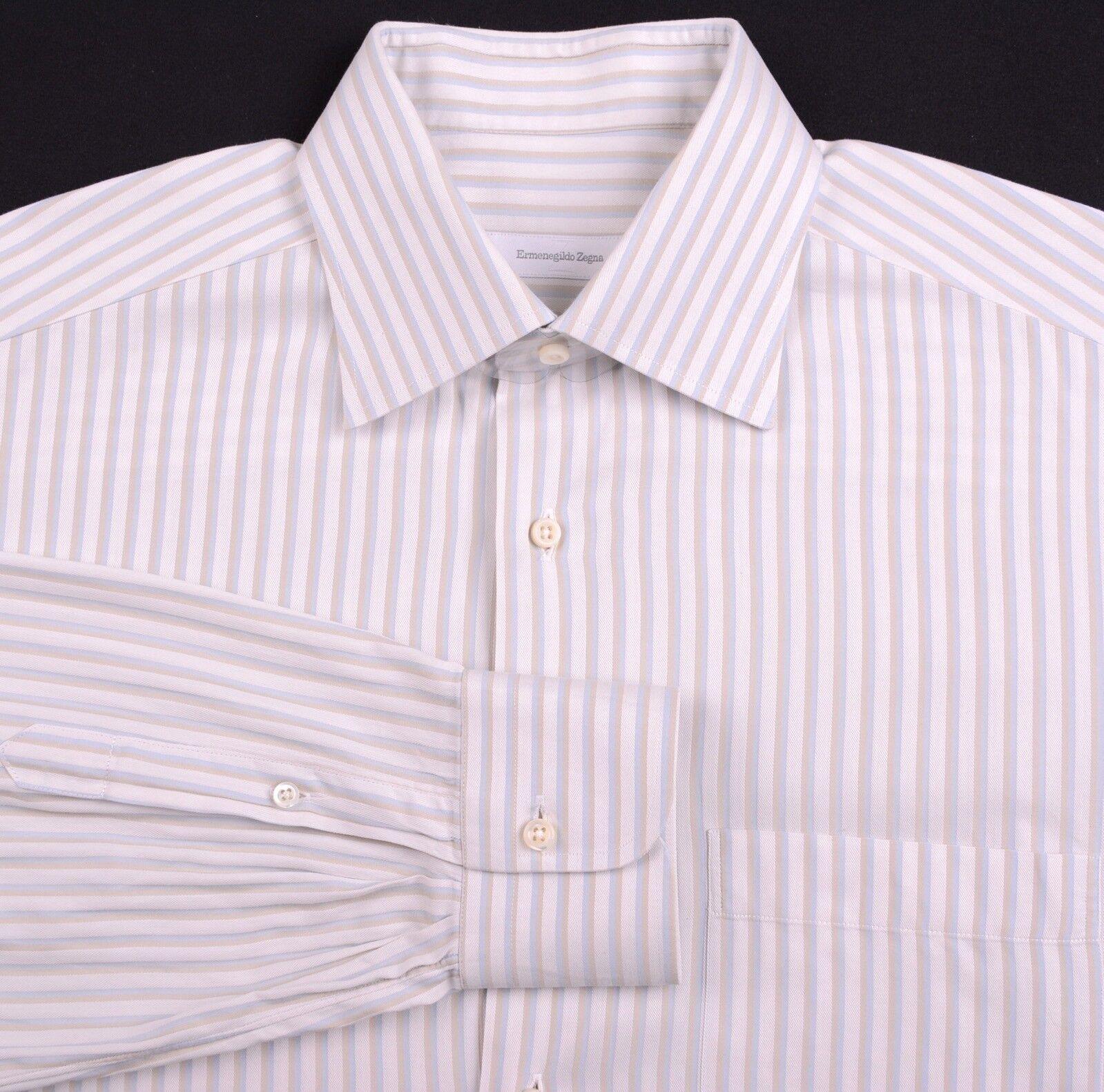 RECENT Ermenegildo Zegna White bluee Brown Chevorn Stripe Dress Shirt 16