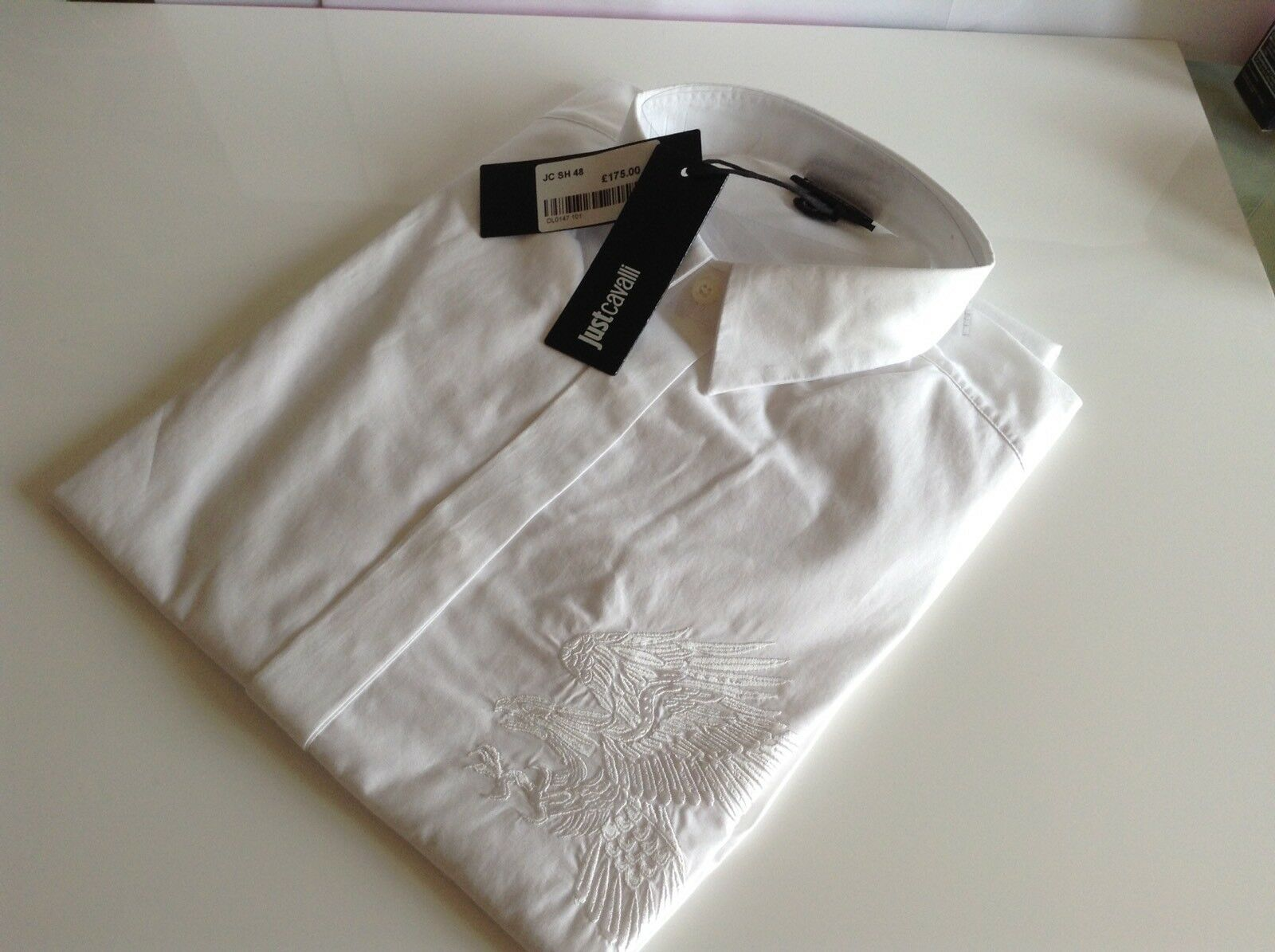 BNWT 100% Auth Just Cavalli Mens Luxury White Eagle Crafted Shirt. 48