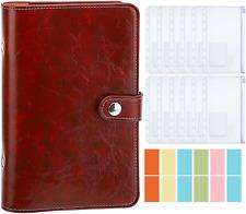 Binder Vintage Pu Leather Notebook Refillable 6 Ring Budget Planner Pockets