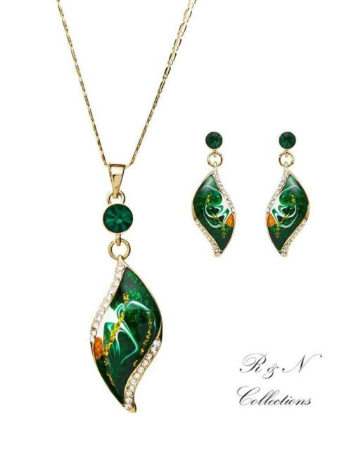 18K Rose GP Green Oil Painting Made With Swarovski Crystal Earring/ Necklace Set
