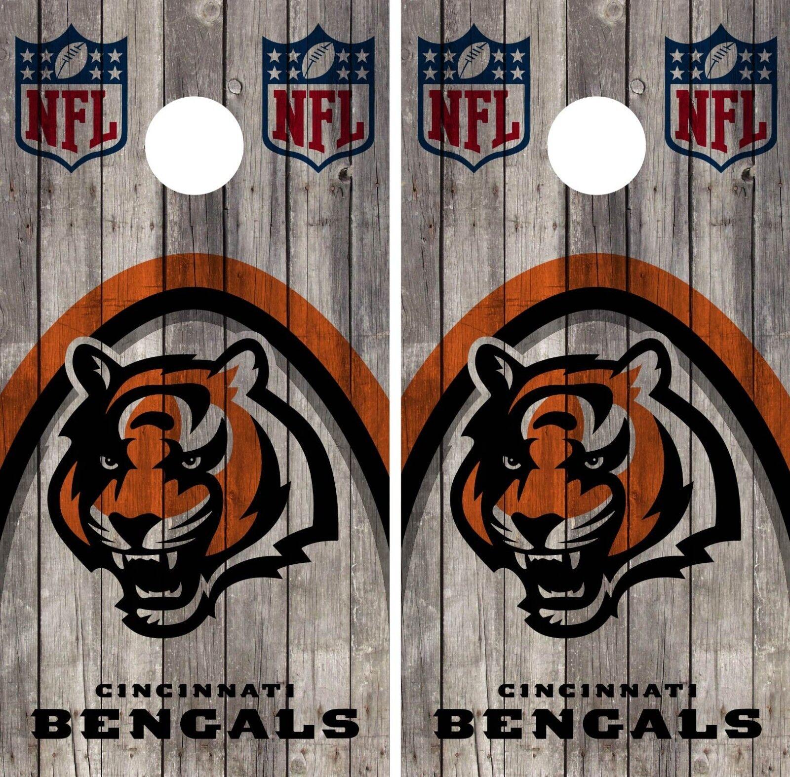 Cincinnati Bengals Cornhole Wrap Wood NFL Skin Game Board Set Vinyl Decal CO54