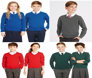 EX M/&S School Jumper Uniform Cotton Rich Boys Girls /'V/' Neck Blue Grey 4y-10y