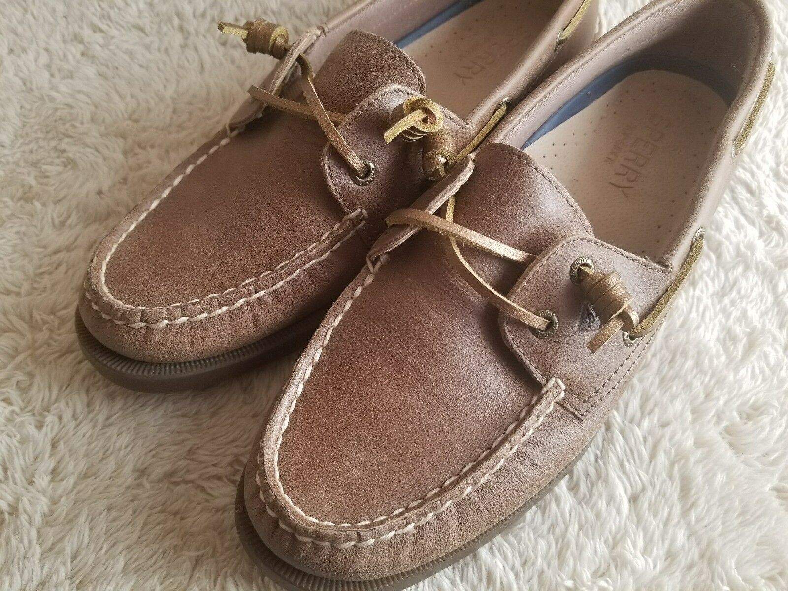 Sperry Coil Top Top Top Sider marrone Pelle oro Lace Coil Sperry Boat Flat   b1e6a4