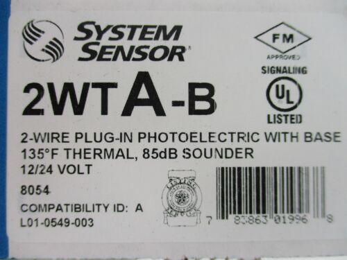 NEW 2-WIRE PHOTOELECTRIC SMOKE DETECTOR SYSTEM SENSOR 2WTA-B