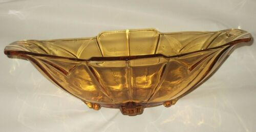 Vintage Art Deco Amber Depression Glass Master Float Bowl c1930