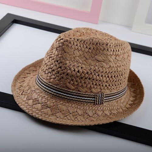Damen Herren Stroh Strand Sun Fedora Hut breite Krempe Filzhut Panama Kappe