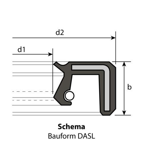 1 Radial-Wellendichtring 55 x 80 x 13 mm DASL NBR 70