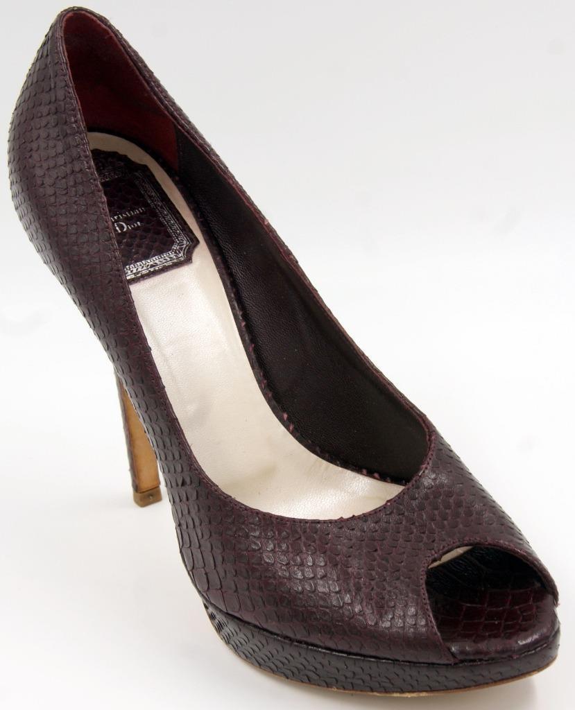per offrirti un piacevole shopping online Christian Dior Dior Dior Oxblood Snake Embossed Peep Toe Platform Heel donna scarpe 38 8 M  prezzi bassissimi