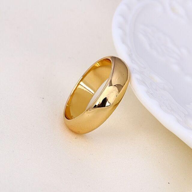 """9ct 9K Yellow """"Gold Filled"""" Men Ladies Wide Wedding Band Ring Various Sizes GIFT"""