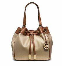 New Michael Kors Marina Gold Large NS Drawstring Shoppers Travel Tote Bag  Purse