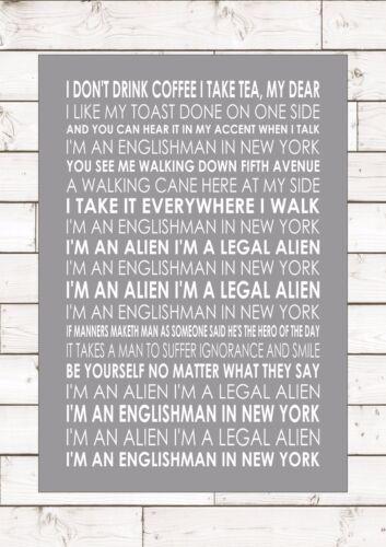 ENGLISHMAN IN NEW YORK STING Word Typography Words Song Lyric Lyrics Music Wall
