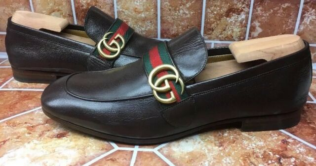 17fa174ab6c GUCCI CURRENT BROWN LEATHER GG LOGO WEB LOAFER DRESS CASUAL 8.5G US ...