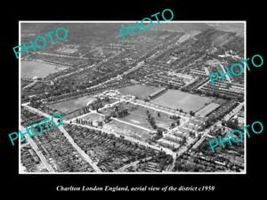OLD-LARGE-HISTORIC-PHOTO-CHARLTON-LONDON-ENGLAND-DISTRICT-AERIAL-VIEW-c1950
