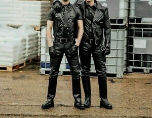Men-039-s-Real-Leather-Trouser-Biker-Motorcycle-Jeans-Pant-Black-Cow-Hide