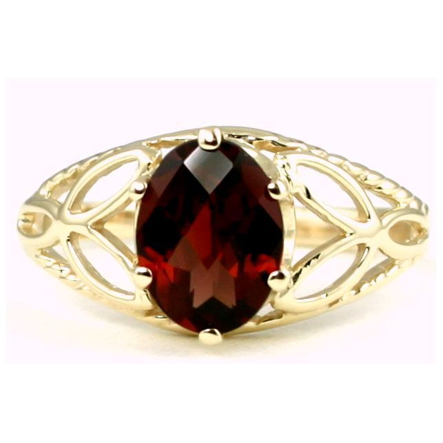 Garnet CZ, Solid 10KY or 14KY gold Ladies Ring, R137-Handmade