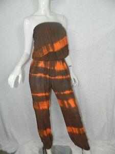 spalline Tie Jumpsuit Brown X Dye senza Orange Life small Blue Pagliaccetto Taglia wIT0xqSOw