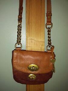 c0b40c35751 Fossil long live vintage leather chain link CROSSBODY  SHOULDER bag ...