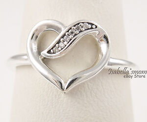 eb3b28490 RIBBONS OF LOVE Authentic PANDORA Silver/Cz VALENTINE~HEART Ring 8.5 ...