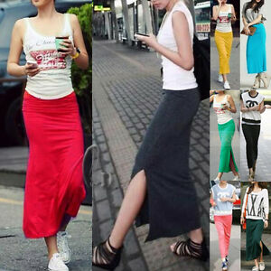 AU-SELLER-Celeb-Style-Soft-Stretch-Maxi-Skirt-Tube-Dress-Multiple-colour-dr121