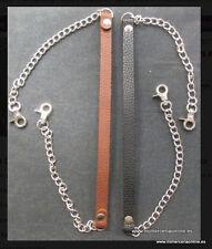 Asas para bolsos, tipo piel+cadena+mosquetónes en color plata, 60cm.