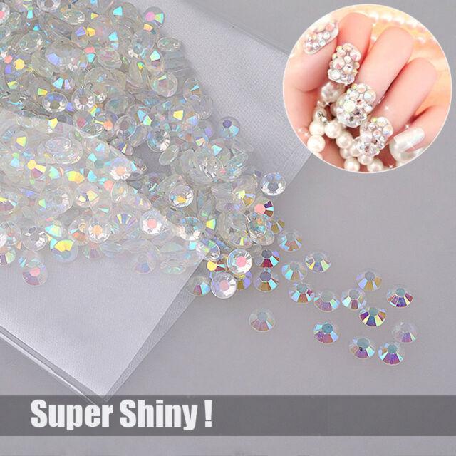 1000 Super Shiny Nail Art Flatback Crystal AB Resin Round Rhinestone Beads 3mm