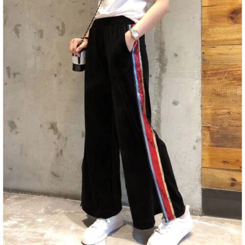larghi larghi Sport donna a righe Pantaloni per K984 da le Pantaloni paillettes gambe dqpW1c