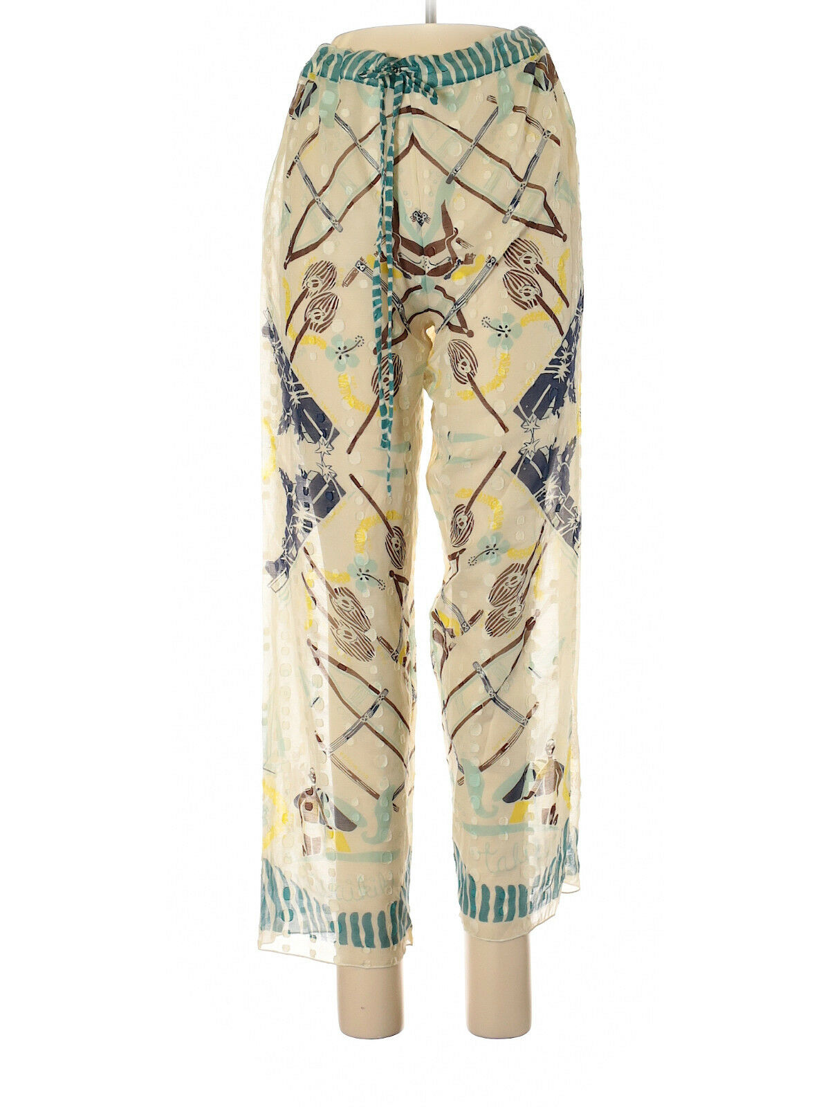Anna Sui Semi-Sheer Ivory Casual Pants with Drawstring, Size Small, NWT