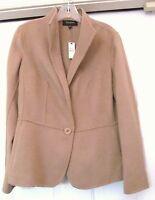 Talbots Jacket Coat Wool Blnd 1-button Stunning Neck Back Lines-camel10