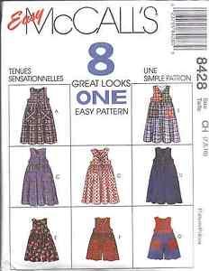 8428-UNCUT-McCalls-SEWING-Pattern-Girls-Jumper-Romper-Detach-Collar-Easy-8-Looks