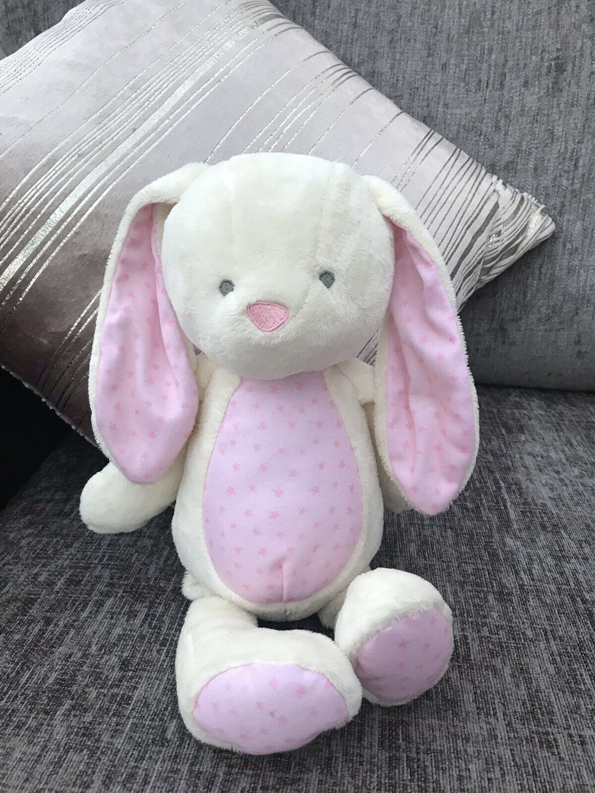 Tesco Carousel Bunny Rabbit Soft Toy Cream Pink plush spotty 14.5