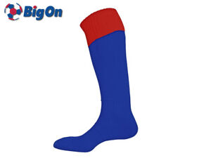 CLEARANCE NEW* BIGON - TURN OVER TOP FOOTBALL SOCKS - YOUTH 3-6 - ROYAL/RED