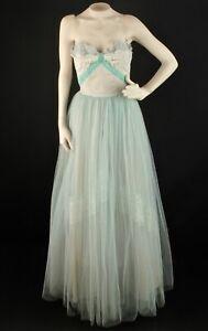 Vtg Women S 50s Light Blue White Formal Gown Sz Xs 1950s Tulle Strapless Dress Ebay