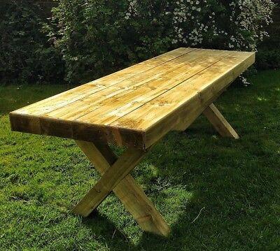 Strange Standard Width Handcrafted Crossed Leg Tanalised Sleeper Garden Table Seats 12 Ebay Download Free Architecture Designs Terstmadebymaigaardcom