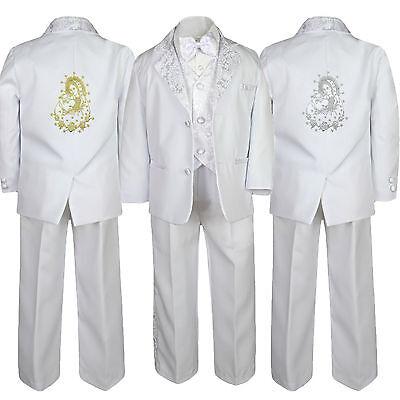 Boy Formal Baptism Communion White Suit Pope Santa Maria Mary size 5,6,7,8,10-20