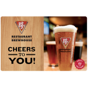 Buy a $60 BJ's Restaurant Gift Card and get additional $15 ($75 card) - Email