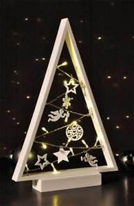 Tannenbaum Weiss Led.Led Silhouetten Tannenbaum Weiß Ornamente Lichterkette Warmweiß Höhe