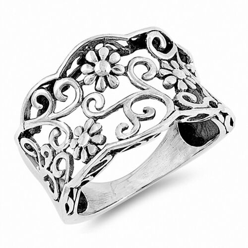 Filigree Flowers Band Ring 925 Sterling Silver Choose Color