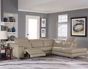 All 100 Leather Taupe Reclining Usb Sofa Chaise Sectional