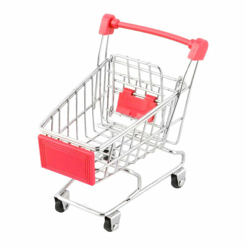 Household Desktop Metal Mini Shopping Handcart Trolly Storage Container Cart