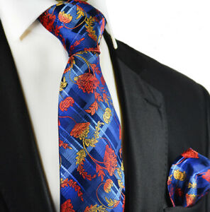Navy and Red Silk Tie and Pocket Square Paul Malone Red Line
