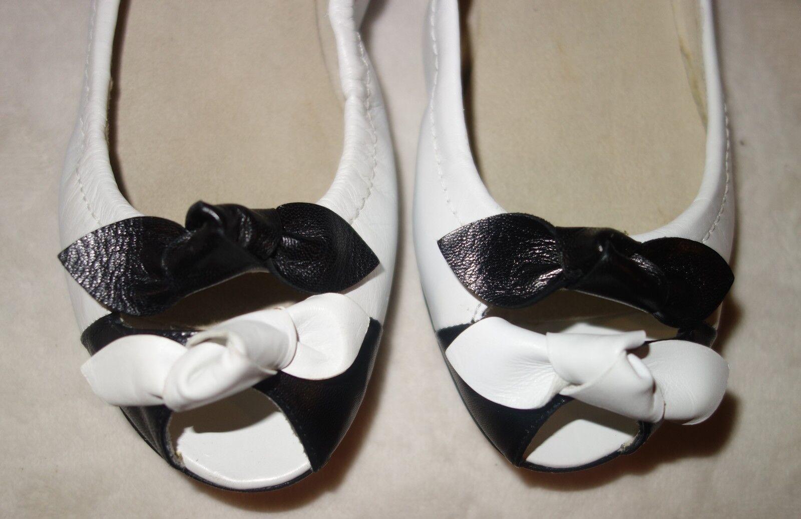 Stuart Weitzman Bonaire blanc nœud noir chaussures 36 US Taille 5.5 Neuf